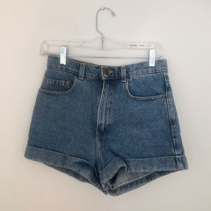 American Apparel Denim High-Waisted Cuff Shorts